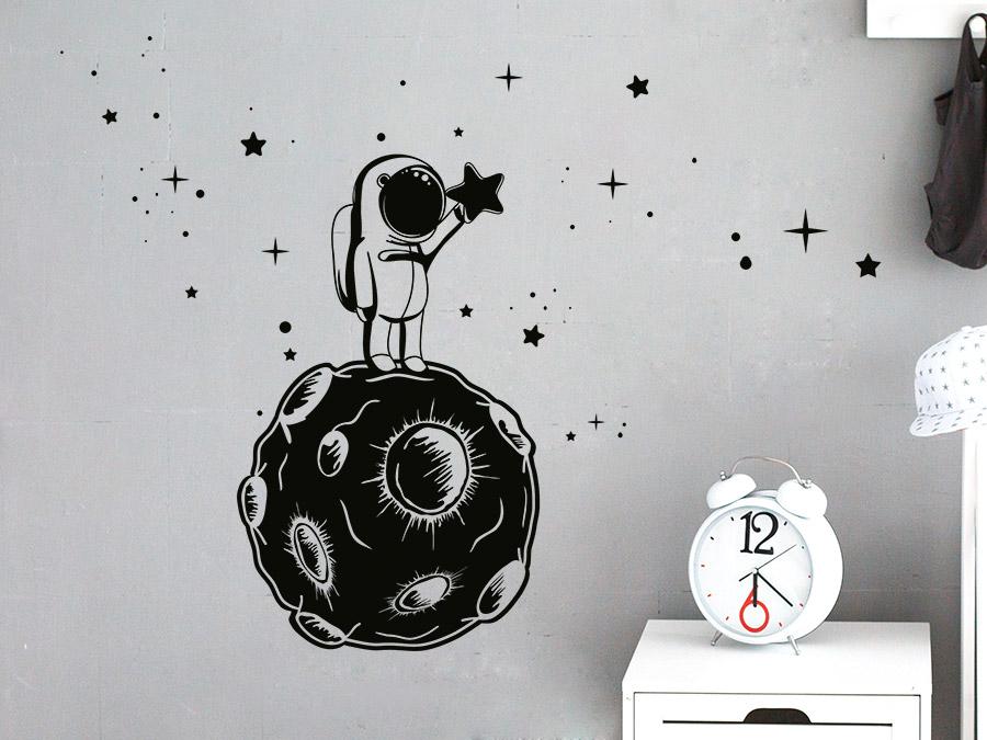 Wandtattoo Kleiner Astronaut Sternenfanger Wandtattoo De