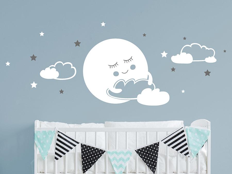 Wandtattoo Mond mit Wolken und Sternen | Wandtattoo.de