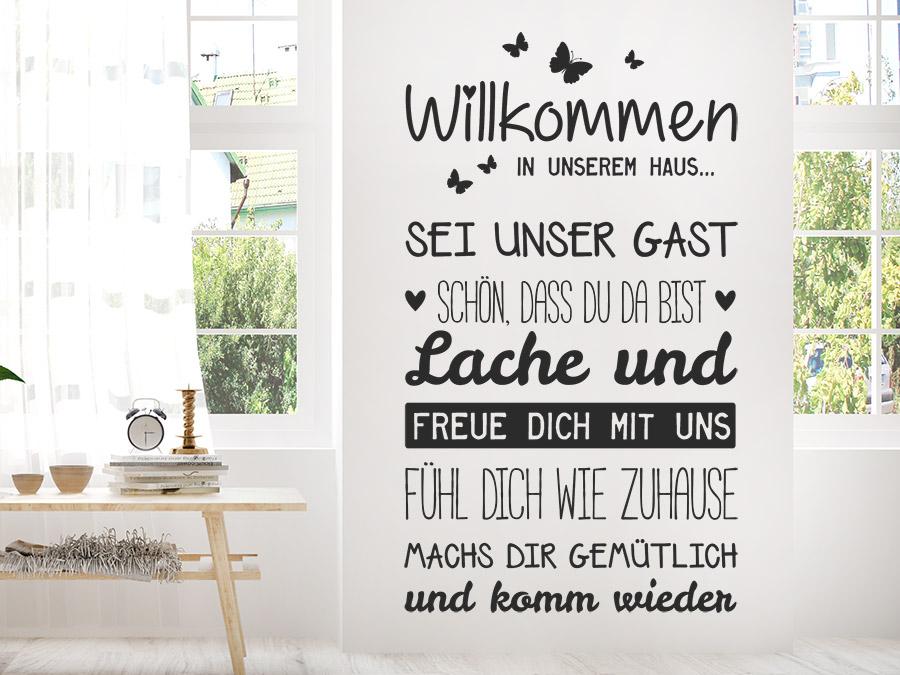 Wandtattoo Willkommen in unserem Haus | WANDTATTOO.DE