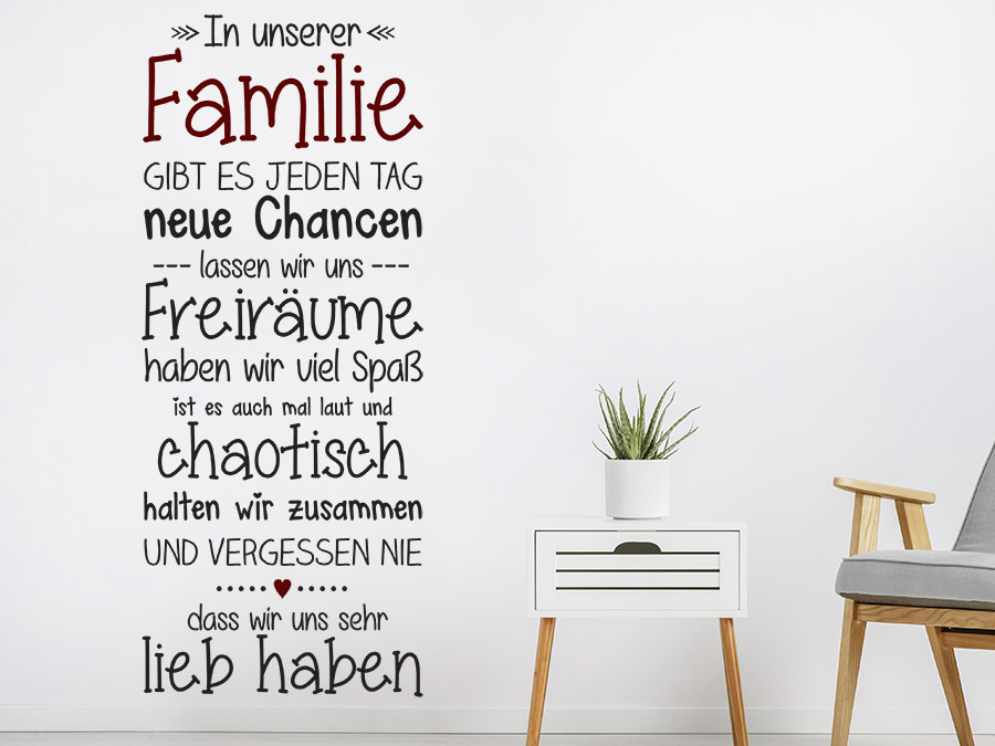 wandtattoo familie mit herz spruchband wandtattoo de. Black Bedroom Furniture Sets. Home Design Ideas