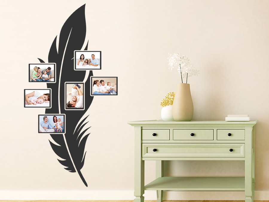 wandtattoo feder mit fotorahmen wandtattoo de. Black Bedroom Furniture Sets. Home Design Ideas