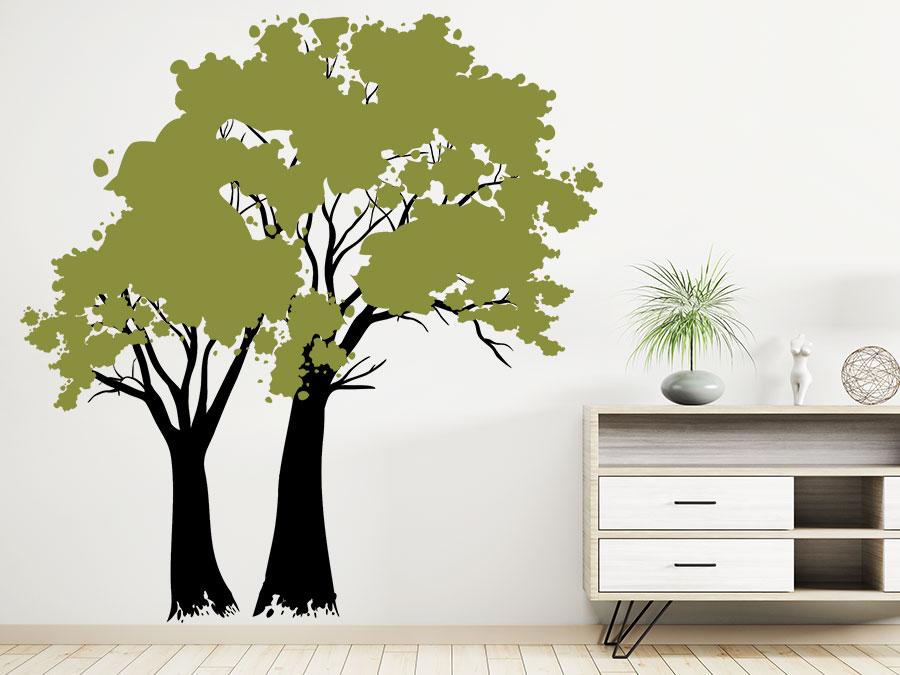 wandtattoo vintage b ume zweifarbig wandtattoo de. Black Bedroom Furniture Sets. Home Design Ideas