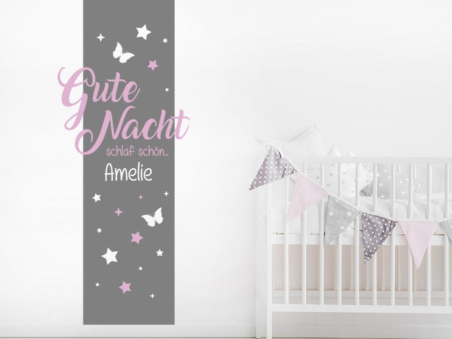 Wandtattoo banner gute nacht schlaf sch n mit name for Wandtattoo banner