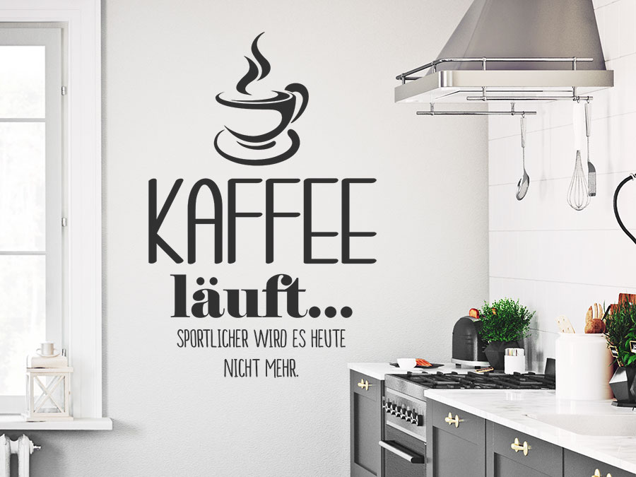 wandtattoo kaffee l uft sportlicher wird es wandtattoo de. Black Bedroom Furniture Sets. Home Design Ideas