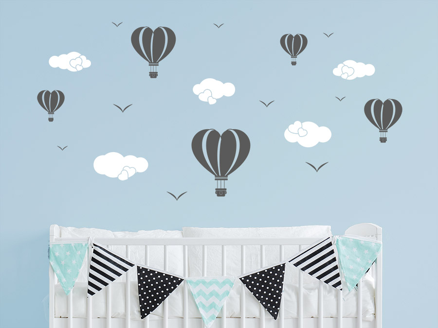 wandtattoo herzballons mit wolken. Black Bedroom Furniture Sets. Home Design Ideas