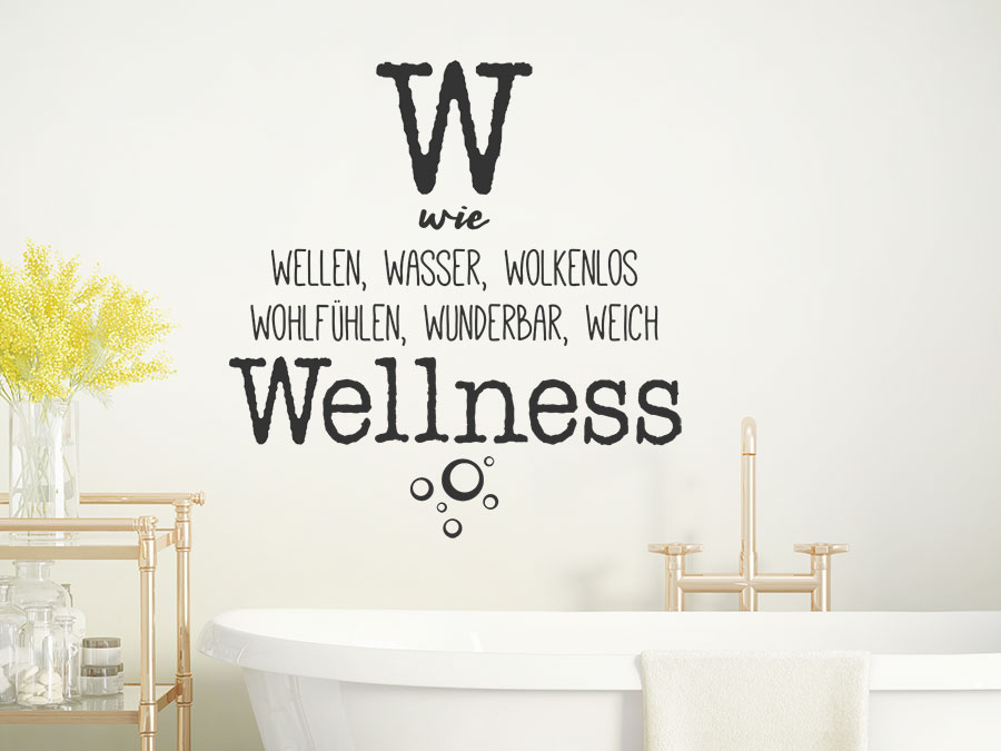 wandtattoo w wie wellness wandtattoo de. Black Bedroom Furniture Sets. Home Design Ideas