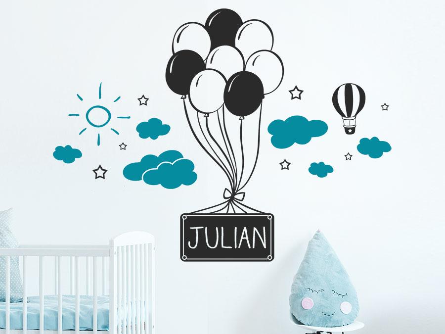 Wandtattoo Luftballons mit Wolken und Name