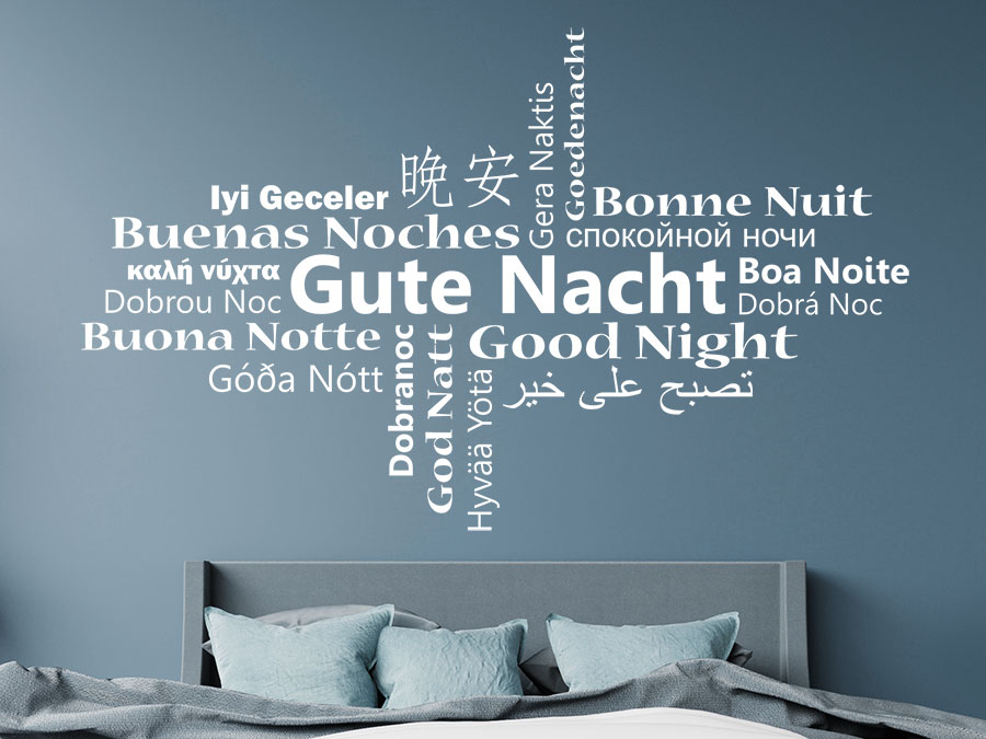 wandtattoo gute nacht multikulturell wortwolke wandtattoo de. Black Bedroom Furniture Sets. Home Design Ideas