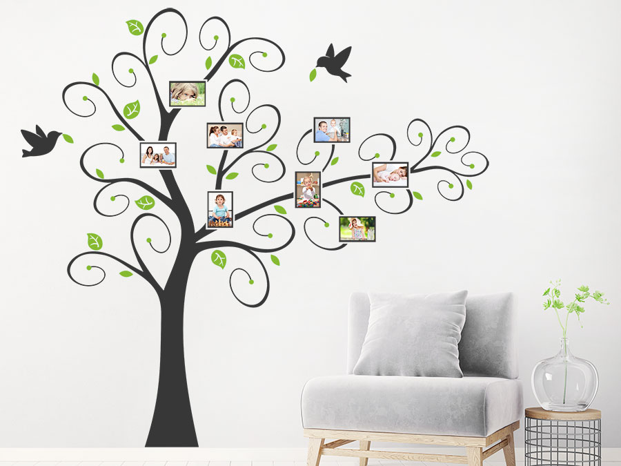 wandtattoo verspielter baum mit fotorahmen wandtattoo de. Black Bedroom Furniture Sets. Home Design Ideas