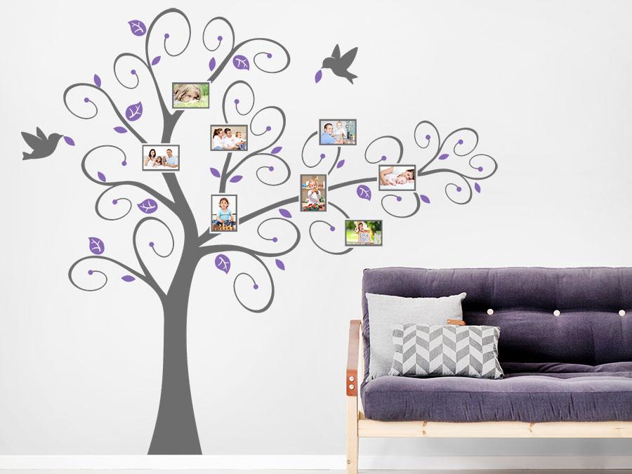 wandtattoo verspielter baum mit fotorahmen wandtattoo de. Black Bedroom Furniture Sets. Home Design Ideas