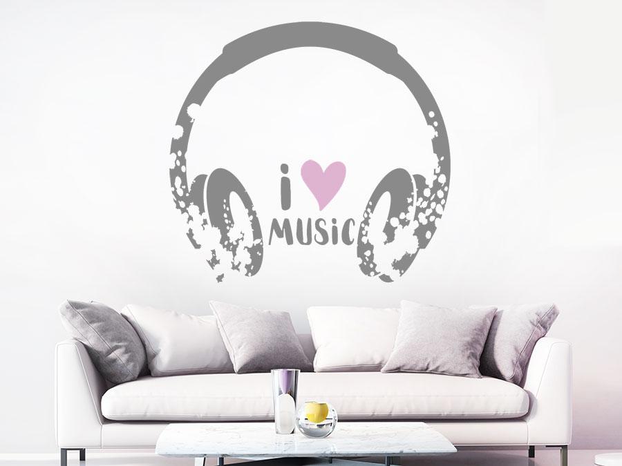Wandtattoo Kopfhörer Grunge Style Wandtattoo Kopfhörer Grunge Style Im  Wohnzimmer ...
