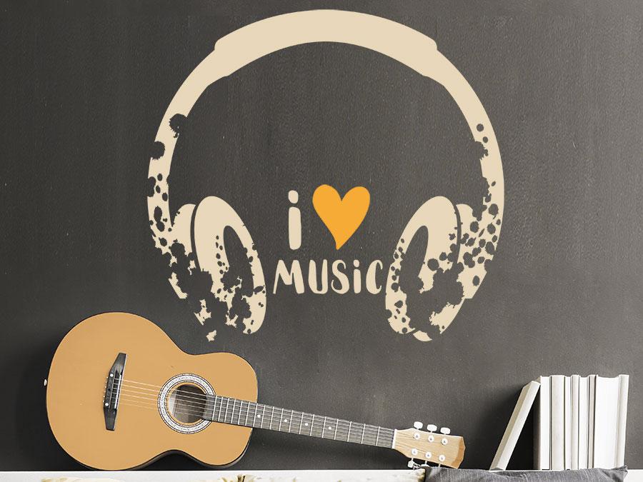 ... Musik Wandtattoo Kopfhörer Grunge Style Auf Dunkler Wandfläche