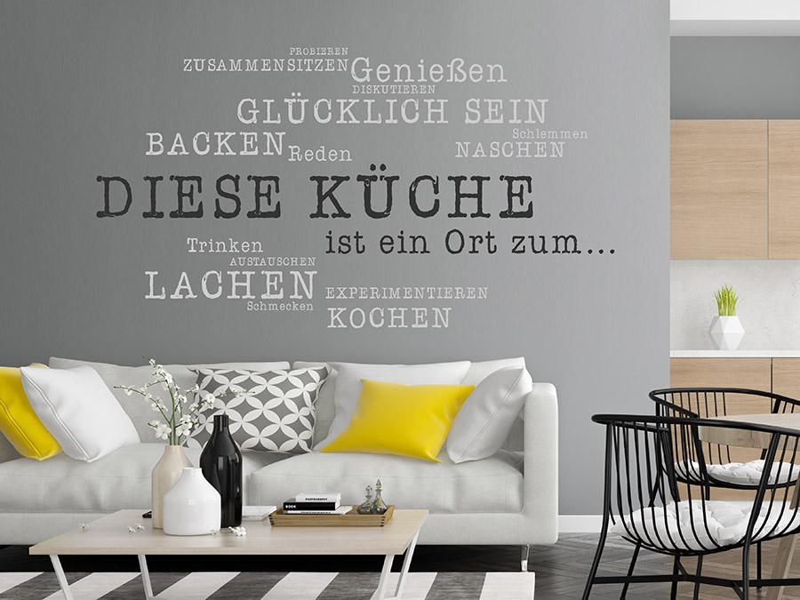 Etonnant ... Wandtattoo Küche Lachen Zusammensitzen Auf Dunklem Hintergrund