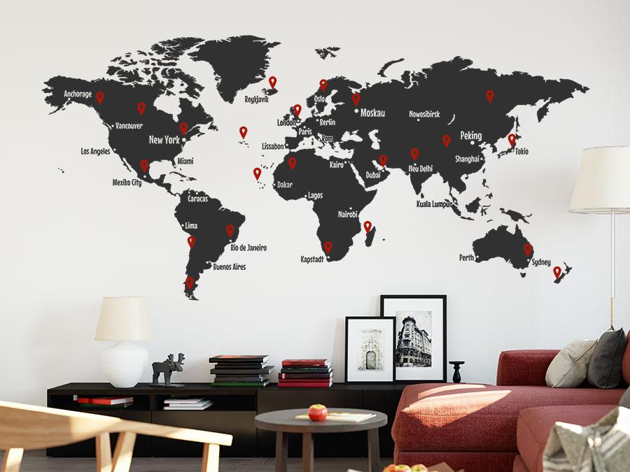 Wandtattoo Weltkarte mit Wunschzielen | WANDTATTOO.DE
