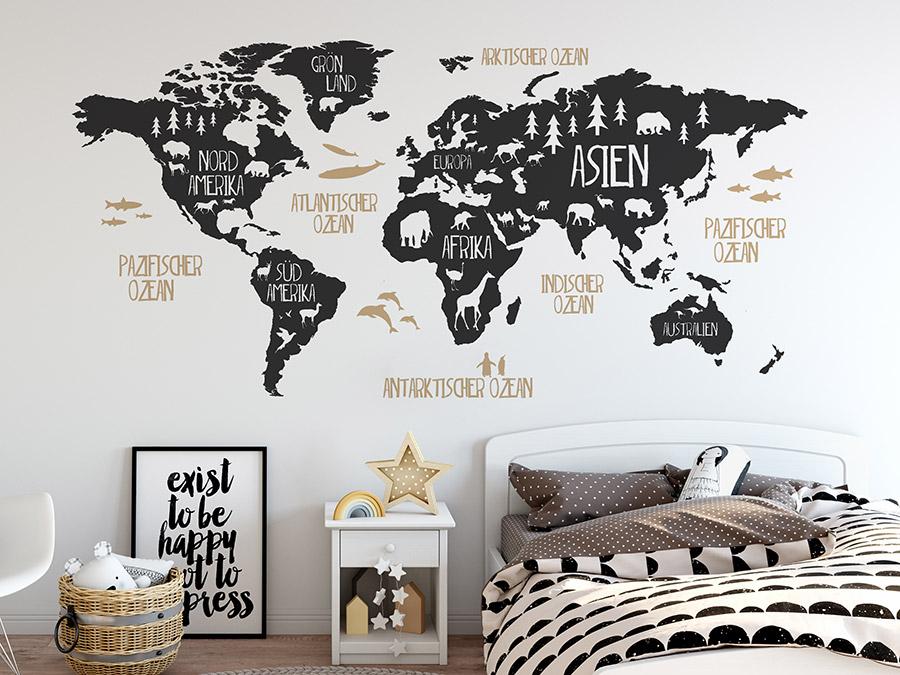 wandtattoo weltkarte f r kinder mit tieren wandtattoo de. Black Bedroom Furniture Sets. Home Design Ideas