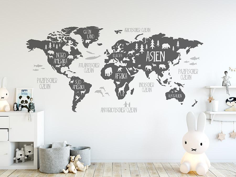 Wandtattoo Weltkarte Mit Tieren Wandtattoos De