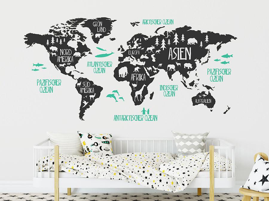 Wandtattoo Weltkarte für Kinder mit Tieren | WANDTATTOO.DE
