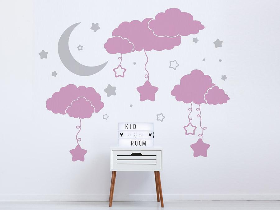 Wandtattoo Wolken Mit Sternen Und Mond Wandtattoo De