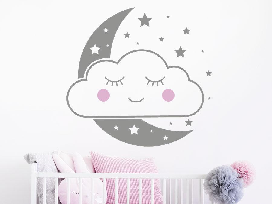 Wandtattoo Wolkengesicht Mit Mond Und Sternen Wandtattoo De