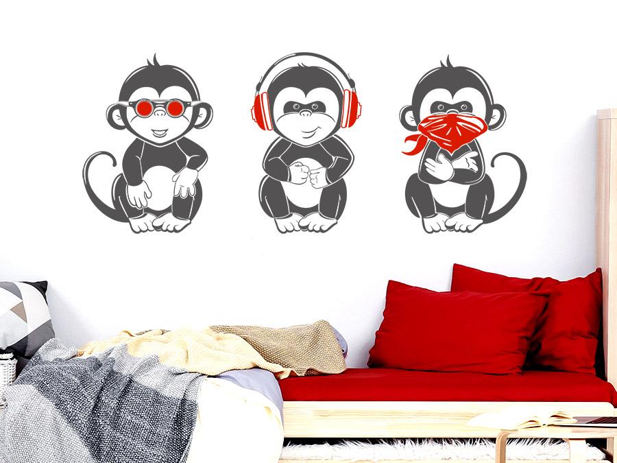 Wandtattoo Coole Affen | Nichts sehen, hören, sagen | WANDTATTOO.DE