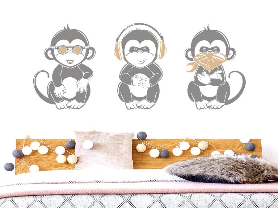 wandtattoo coole affen nichts sehen h ren sagen wandtattoo de. Black Bedroom Furniture Sets. Home Design Ideas