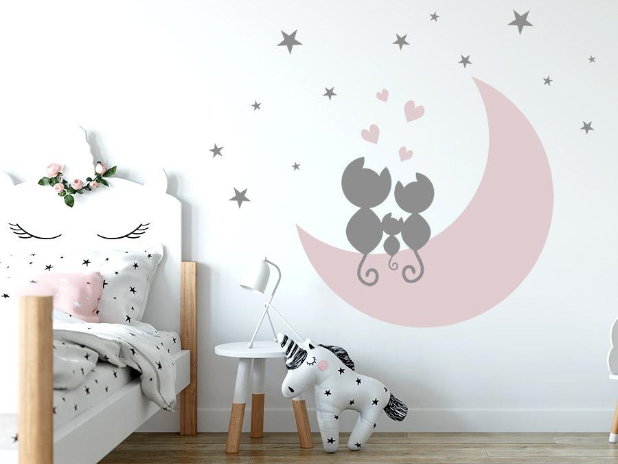 Wandtattoo Katzen Im Mond Mit Herzen Und Sternen Wandtattoo De