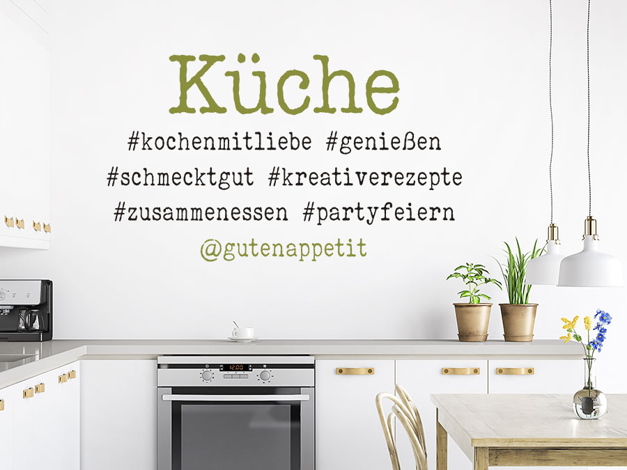 Wandtattoo Küche mit Hashtags | WANDTATTOO.DE