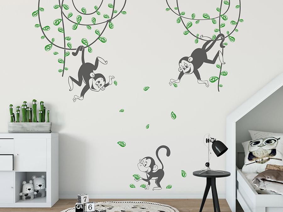 Wandtattoo Verspielte Affen