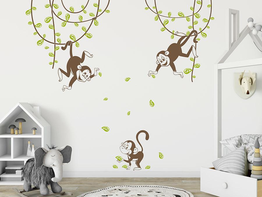 Wandtattoo Verspielte Affen mit Lianen | WANDTATTOO.DE