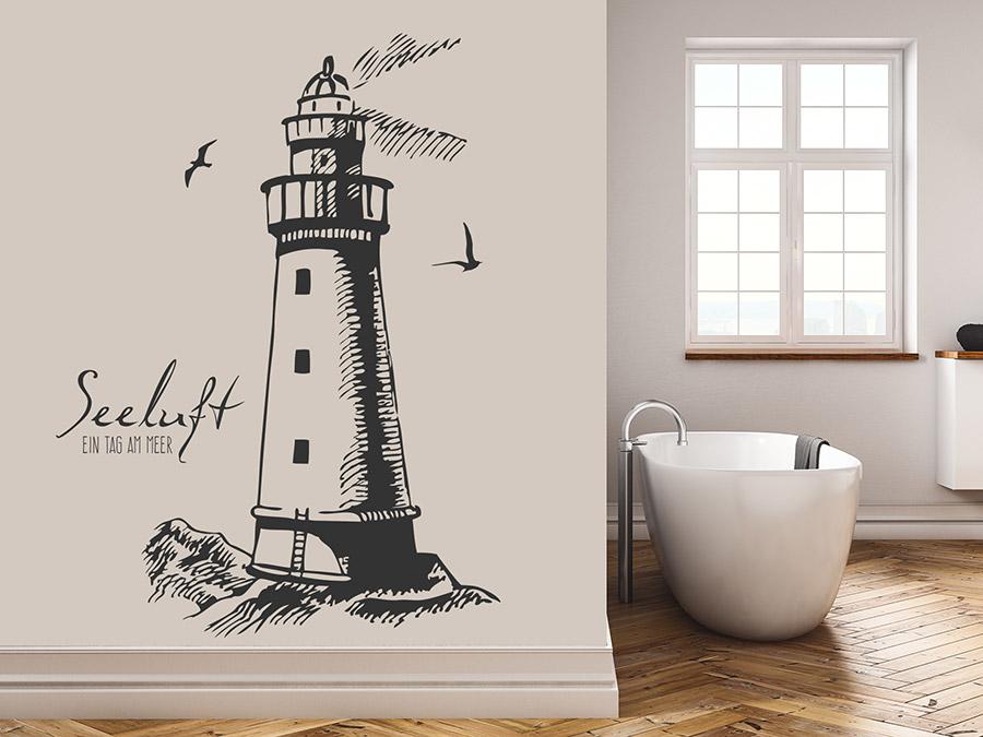 Wandtattoo Seeluft mit Leuchtturm