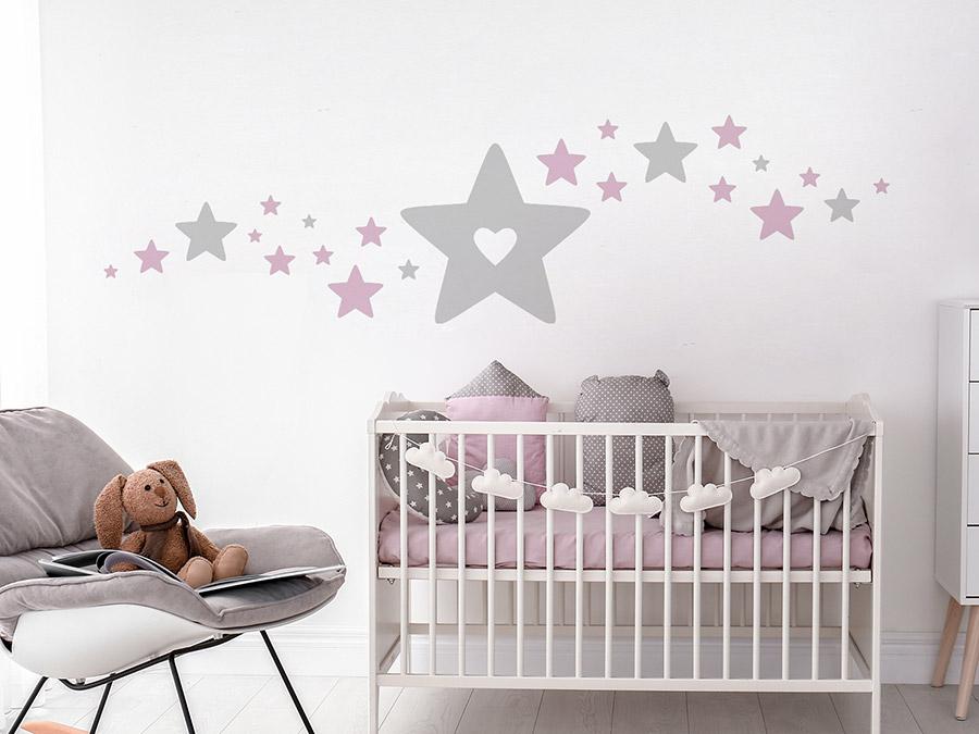 Wandtattoo Baby Sterne mit Herz | WANDTATTOO.DE