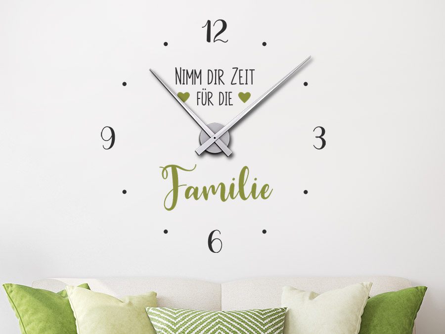 Wandtattoo Uhr Zeit für die Familie