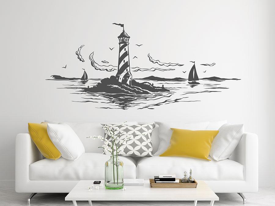 Wandtattoo Leuchtturm im Meer