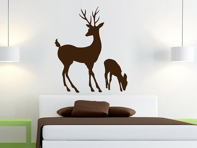 wandtattoo hirsch mit hirschkalb von. Black Bedroom Furniture Sets. Home Design Ideas