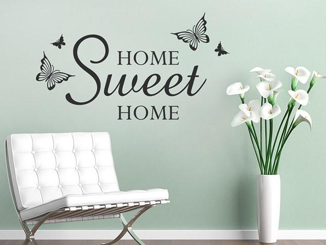 wandtattoo sweet home mit schmetterlingen wandtattoo de. Black Bedroom Furniture Sets. Home Design Ideas