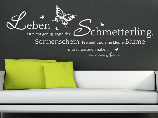 wandtattoo der schmetterling und die blume zitat wandtattoo de. Black Bedroom Furniture Sets. Home Design Ideas