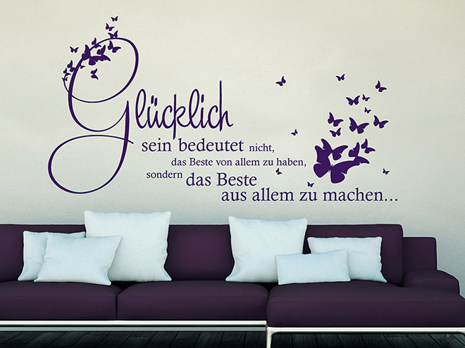wandtattoo gl cklich sein bedeutet das beste wandtattoo de. Black Bedroom Furniture Sets. Home Design Ideas