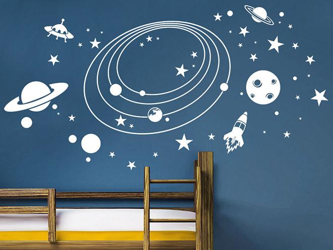 wandtattoo im weltall mit planeten und raketen wandtattoo de. Black Bedroom Furniture Sets. Home Design Ideas