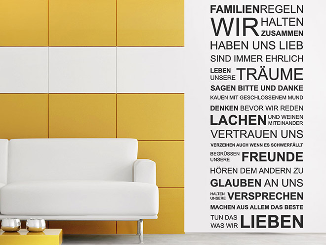 wandtattoo familienregeln spruchbanner wandtattoo de. Black Bedroom Furniture Sets. Home Design Ideas