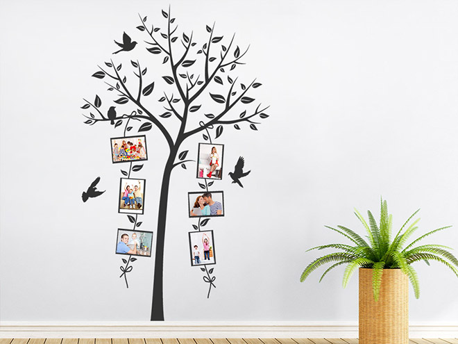 wandtattoo dekorativer fotorahmen baum wandtattoo de. Black Bedroom Furniture Sets. Home Design Ideas