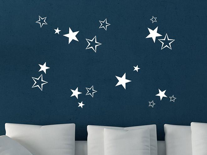 wandtattoo sterne deko f r weihnachten wandtattoo de. Black Bedroom Furniture Sets. Home Design Ideas