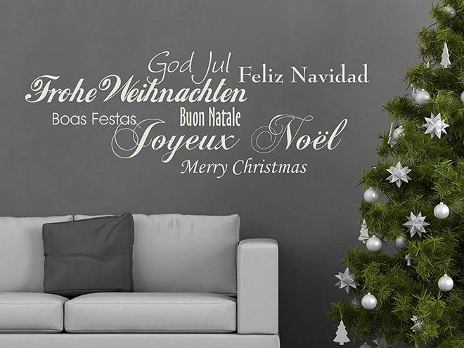 wandtattoo frohe weihnachten in 7 sprachen von. Black Bedroom Furniture Sets. Home Design Ideas