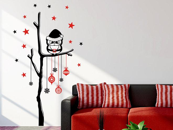 wandtattoo weihnachtlicher baum mit eule wandtattoo de. Black Bedroom Furniture Sets. Home Design Ideas