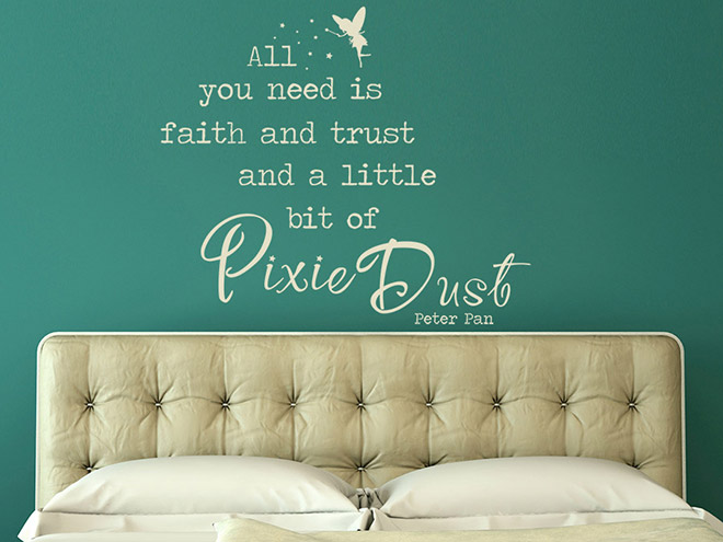 peter pan wandtattoo all you need ist faith and trust zitat von. Black Bedroom Furniture Sets. Home Design Ideas