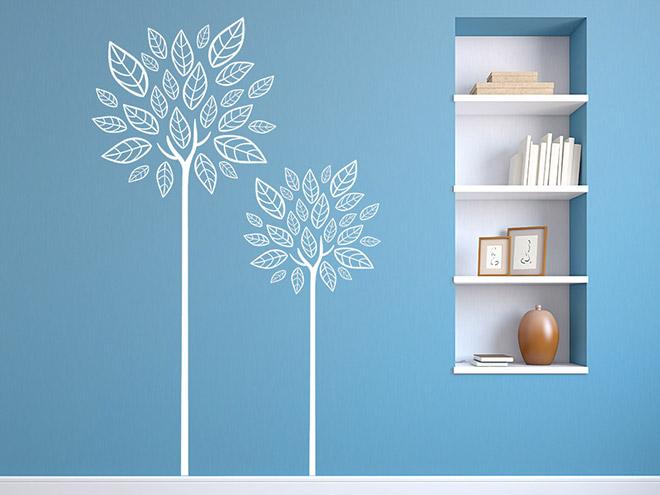 wandtattoo moderne b ume seit mit bl ttern wandtattoo de. Black Bedroom Furniture Sets. Home Design Ideas