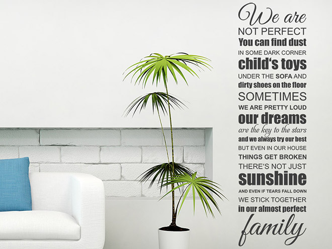 Wandtattoo we are not perfect spruch familie von - Wandtattoo family ...