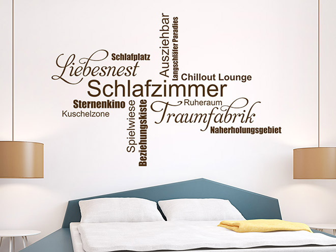 wandtattoo schlafzimmer wortwolke traumfabrik wandtattoo de. Black Bedroom Furniture Sets. Home Design Ideas