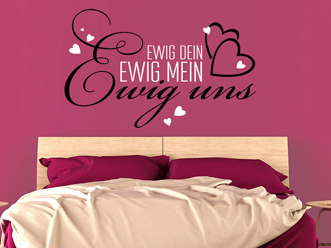 liebe wandtattoo ewig dein mit herzen wandtattoo de. Black Bedroom Furniture Sets. Home Design Ideas