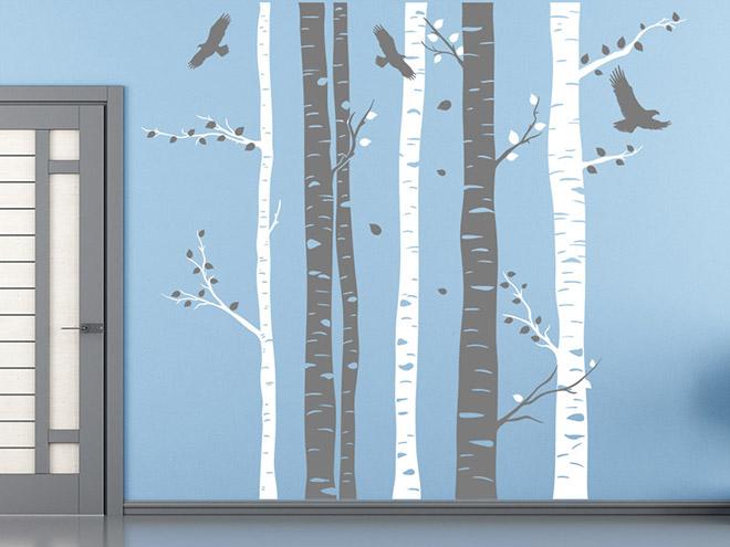Wandtattoo Zweifarbige Baumstämme