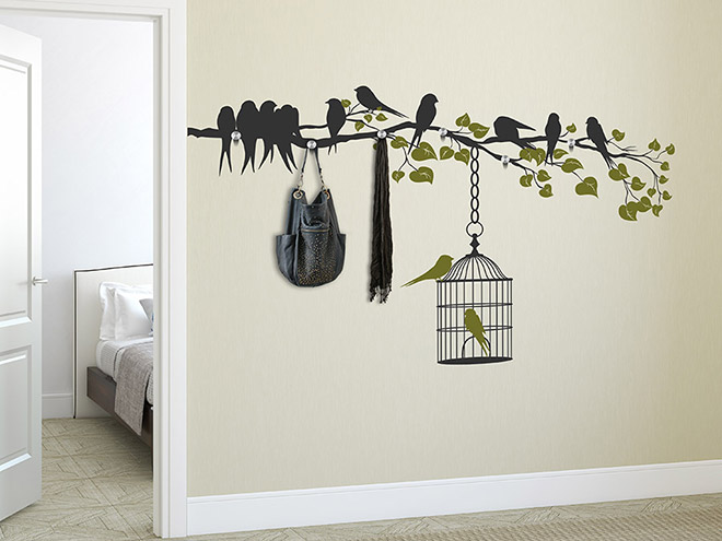 wandtattoo garderobe ast mit v geln und bl ttern von. Black Bedroom Furniture Sets. Home Design Ideas